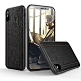 iPhone Xs Max Leather Case Cover - Thin Luxury Premium Genuine Leather No-PU Soft Flexible Bumper Non-Wallet Anti-Slip Scratch Protective Business iPhone 10 Max Cover Work with Wireless Charging