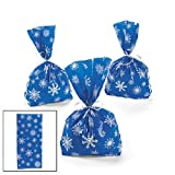 Arts & Crafts : 72 Blue SNOWFLAKE Cellophane GOODY Bags 6 DOZEN - WINTER/Christmas HOLIDAY/CELLO Bags/Favors/CANDY/SWEETS