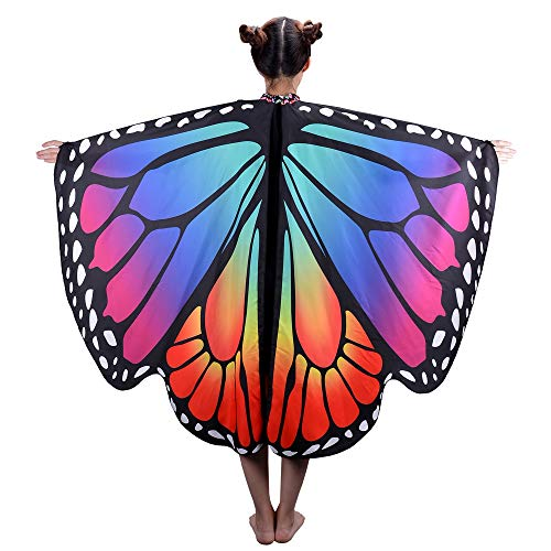 Butterfly Wings for Girls Kids Halloween Costume Fairy Shawl Festival Rave Dress