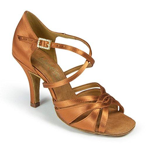 Chaussures De Danse Internationales Mia Brun Foncé Satin Dames Rythme Latin (taille Uk 3,5 / 2,5 Pouces Élite Talon)