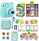 Fujifilm Instax Mini 9 Camera Bundle (Ice Blue) + Instant Camera Film 20 Sheets + Instax Case + Instax Camera Accessories Bundle, Albums, 4 Color Lenses, Selfie Lens, 6 Magnet Frames + 60 Stickers