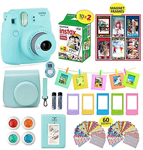Fujifilm Instax Mini 9 Camera Bundle (Ice Blue) + Instant Camera Film 20 Sheets + Instax Case + Instax Camera Accessories Bundle, Albums, 4 Color Lenses, Selfie Lens, 6 Magnet Frames + 60 Stickers (Camera Polaroid Film Fuji)