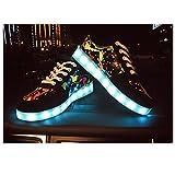 Sabe 7 Colors Luminous LED Shoes Women and Men Print Sneakers(USB Charging)