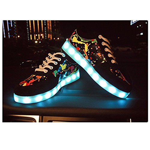 Charging Colors and Shoes USB Print Print Sneakers 7 Sabe LED Men Women Luminous PSUq1H