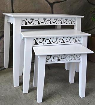 Beistelltisch Satztisch Couchtisch Set 3 Tlg Landhaus Antik Weiß