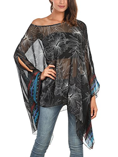 Tops Femme FASHION Noir bleu Tulle DJT Chauve Souris Imprime Blouse Manches T Shirt HTXWxqS