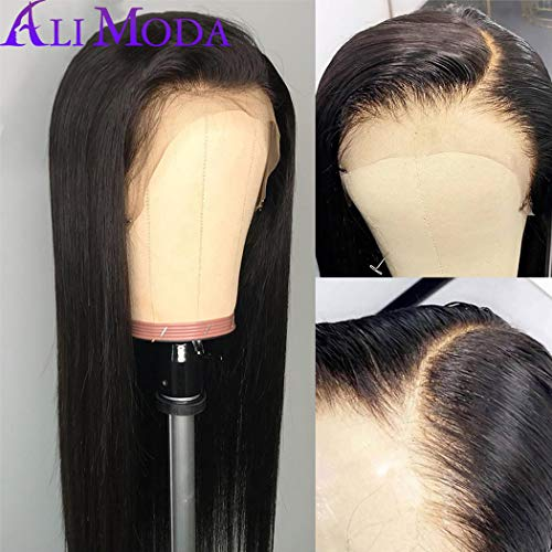 Silky Straight Lace Wig - Ali Moda Brazilian 10A Silky Straight Lace Frontal Wigs 130% Density Pre-Plucked Human Virgin Hair Nature Hairline With Baby Hair 16 inch