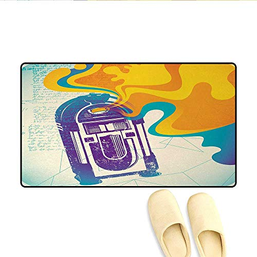 Doormat,Retro Vintage Radio Music Box with Marigold Yellow Abstract Fog Like Image,Bath Mat for Tub Bathroom Mat,Purple and ()