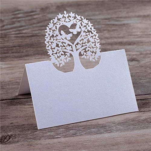YURASIKU 40pcs Laser Cut Trees Name Place Card for Wedding Decoration Party Favors Pearl Paper Table Place Card for Baby Shower Event