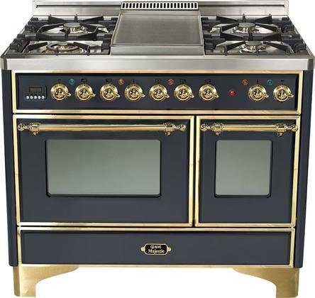 Ilve UMD-100FDMPM- 40' Majestic Dual Fuel Freestanding Range with 2.44 cu. ft. & 1.44 cu. ft. Ovens Full-Width Warming Drawer Rotisserie 5 Burners with Griddle: Matte Graphite with Brass
