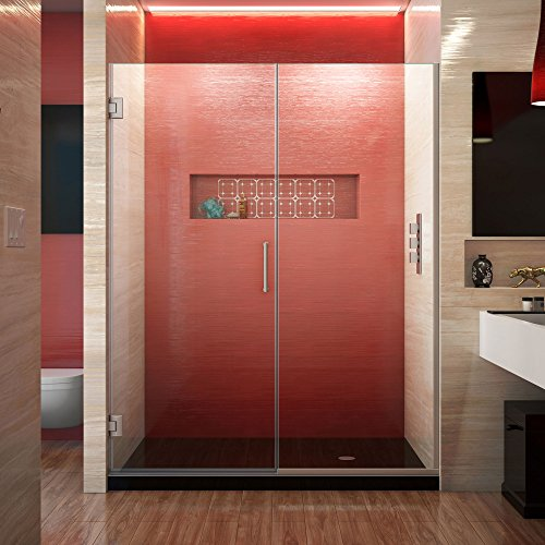DreamLine Unidoor Plus 57 1/2-58 in. W x 72 in. H Frameless Hinged Shower Door, Clear Glass, Brushed Nickel, SHDR-245757210-04 - Front Door Hinged Clear