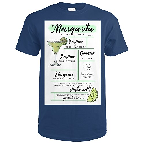 Margarita - Cocktail Recipe (Navy Blue T-Shirt XX-Large)
