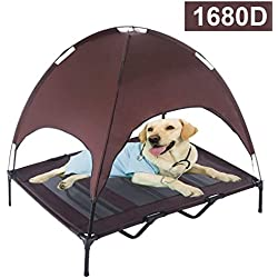 Reliancer XLarge 48 Elevated Dog Cot with Canopy Shade 1680D Oxford Fabric Outdoor Pet Cat Cooling Bed Tent w/Convenient Carrying Bag Indoor Sturdy Steel Frame Portable for Camping Beach (48, Brown)