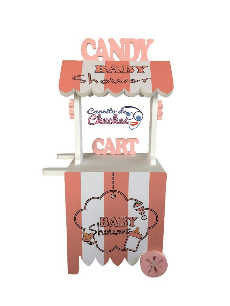 CARRITO DE CHUCHES Candy Cart Baby Shower Rosa. para Decorar.Reutilizable, Medidas 132CMS(Alto) X56CMS(Ancho) X47CMS(Fondo) Fabricado en Material XPS ...