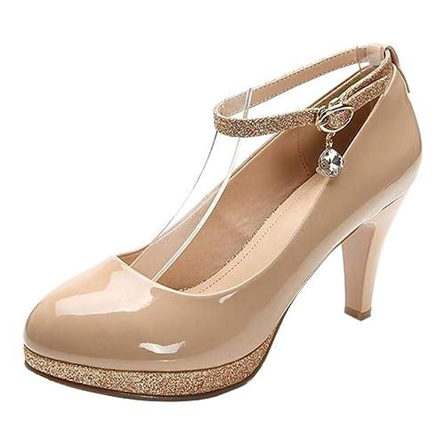 Zapatos Tobillo Plataforma Moda Heels Correa Pumps Tacones Con Trabajo De Mujer Embudo Zanpa Tacón RxPqx80