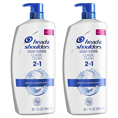 Head and Shoulders, Shampoo and Conditioner 2 in 1, Anti Dandruff, Classic Clean, 32.1 fl oz, Twin Pack - 2in Dandruff Shampoo 1