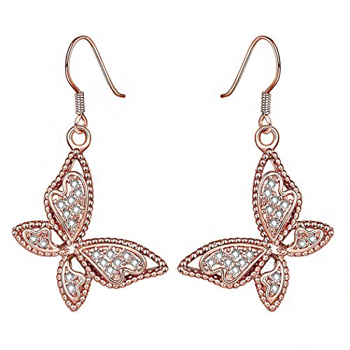 Price comparison product image Duo La Lovely Butterfly 18K Rose Gold Plated Cubic Zirconia Fashion Charm Lady Dangle Earrings