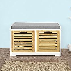 SoBuy Storage Bench,Shoe Cabinet,Shoe Bench,Storage Cabinet,FSR23-K-WN,