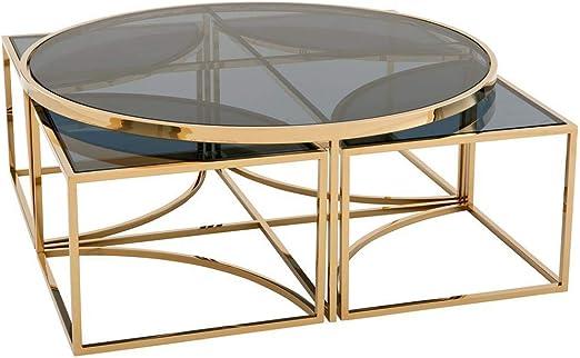 Amazon Com Gold Nesting Coffee Table Eichholtz Padova Modern Luxurious Smoked Glass Round Table Set Of 5 Kitchen Dining