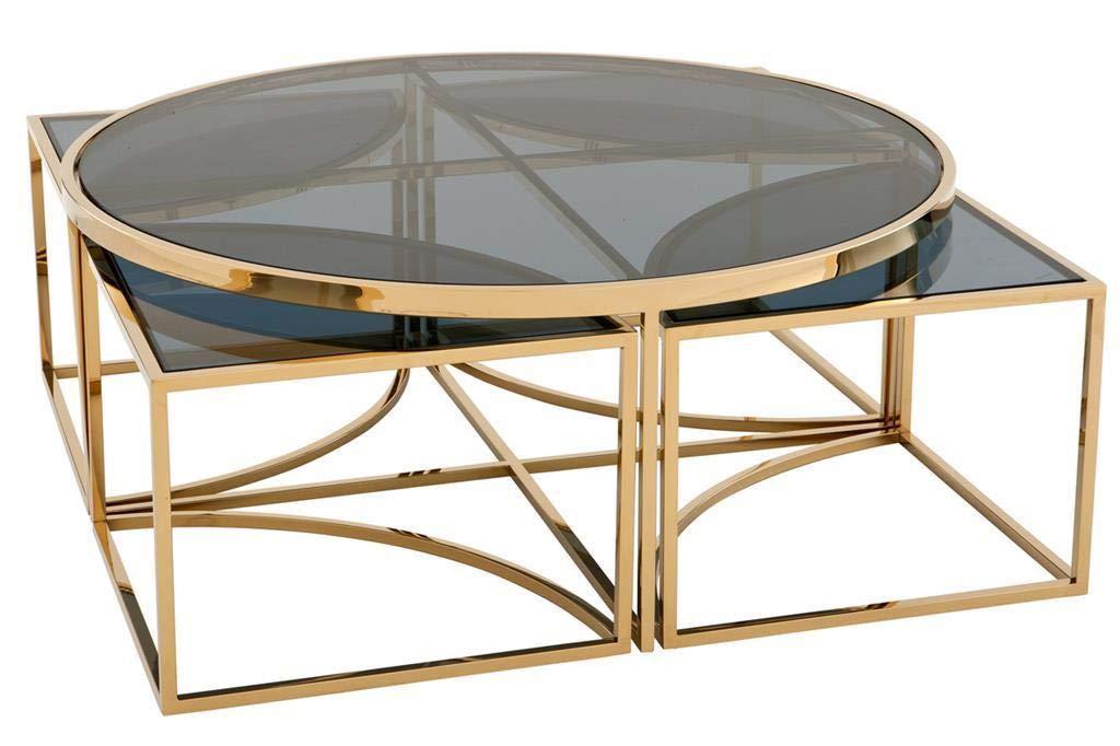 Gold Nesting Coffee Table | EICHHOLTZ Padova | Modern Luxurious Smoked Glass Round Table Set of 5 by Eichholtz Furniture by OROA