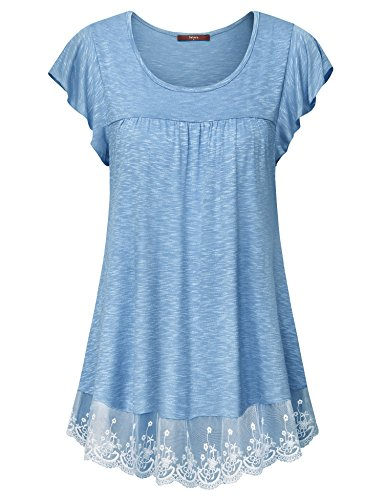 Gaharu Tunic Tops for Leggings for Women, Lace Short Sleeve Top Loose Casual Swing Tunic Shirts Scoop Neck Pleated Blouse Light Blue,X-Large (Lace Tunic Long)