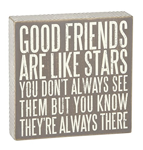 Primitives by Kathy Gray Chevron Trimmed Box Sign, 7.75-Inch by 7.75-Inch, Good Friends are Like Stars (Good Sign Friend)