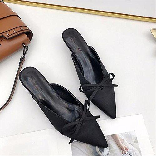 Adorned Comfort Heel Bow Black Handcrafted Kitten Cloudless Women's Suede Mule xFn4n1P