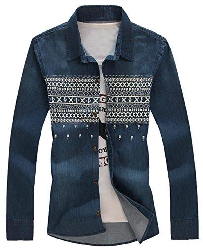 XueYin Men's Casual long-sleeved denim shirt (Blue,XXXXL size)