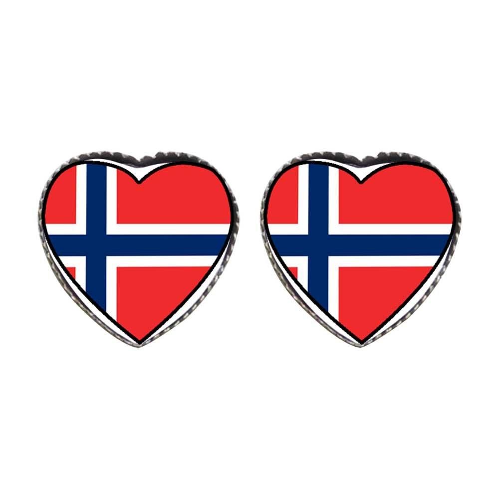 GiftJewelryShop Bronze Retro Style Norway flag Photo Stud Heart Earrings #12