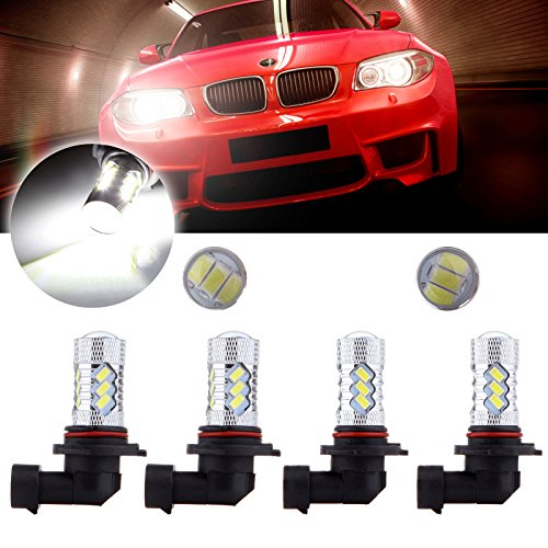 CCIYU 4Pack 9005+9006 LED Bulb Combo 60W 6000LM Xenon White Cree 15 5730 SMD Fog Light