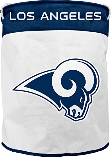 Duck House NFL Los Angeles Rams Canvas Laundry Basket with Braided Rope Handles by Duck House