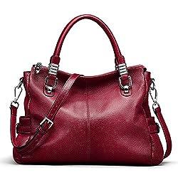 S Zone Women S Vintage Genuine Leather Tote Shoulder Bag Top Handle Crossbody Handbags Ladies Purse Wine Red