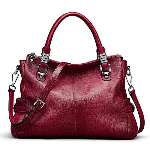 - S-ZONE Women's Vintage Genuine Leather Tote Shoulder Bag Top-Handle Crossbody Handbags Ladies Purse (Wine Red)
