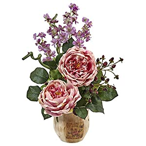 Nearly Natural 1447-PK Large Rose and Dancing Daisy in Wooden Pot 10