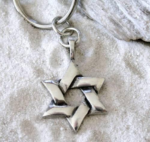 (Pewter Star of David Jewish Hebrew Kabbalah Hanukkah Keychain Key Tag)