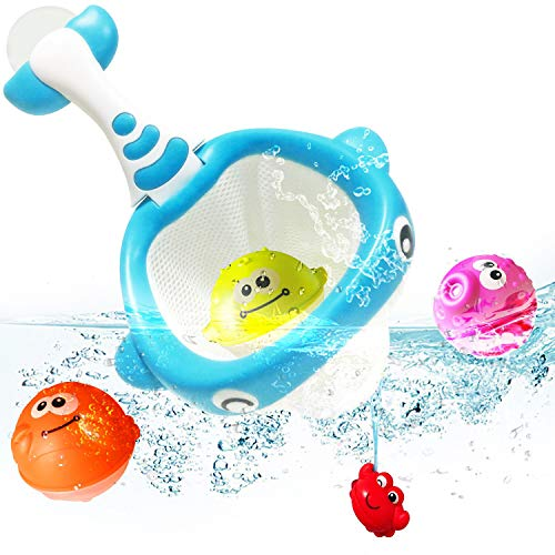 Basketball Bath - ToyerBee Bath Toys, Basketball Hoop Bathtub Toy with 3 Ocean Animal Balls& Powerful Suction Cup for Boys & Girls & Toddlers