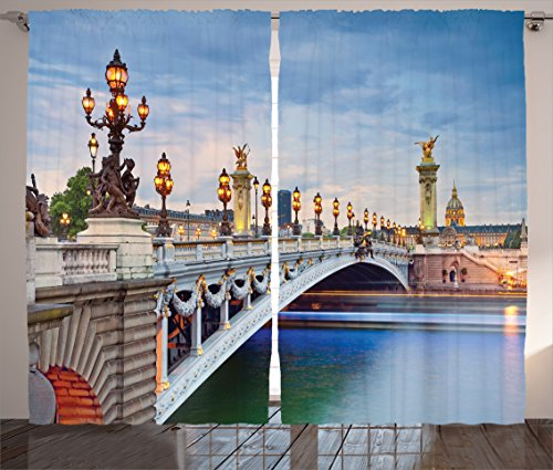 Ambesonne Paris Decor Collection, Paris the Alexandre III Bridge Located in Paris France and Sculptures Statue Urban Picture, Living Room Bedroom Curtain 2 Panels Set, 108 X 84 Inches, Blue Teal - Alexandre Iii Bridge