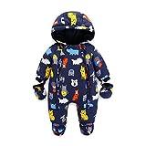 Baby Snowsuit Infant Hooded Romper Winter Jumpsuit Zipper Front (12-18 Months)
