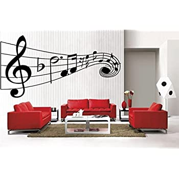 Attractive Newclew MUSIC Musical NOTES Large Removable Vinyl Wall Quote Decal Home  Décor Large Design