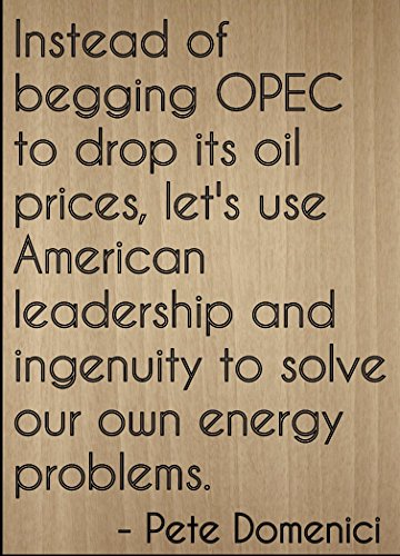"""Instead of begging OPEC to drop its oil..."" quote by Pete Domenici, laser engraved on wooden plaque - Size: 8""x10"""