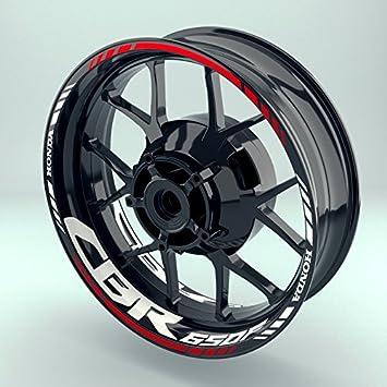 FELGENRANDAUFKLEBER passend f/ür Honda CB 650 F oder CBR 650 F Moto GP Style Felgenaufkleber Motiv 1V