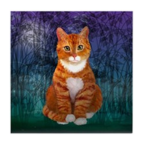 CafePress - Green Eyed Orange Tabby Cat - Tile Coaster, Drink Coaster, Small Trivet ()