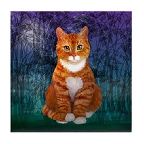 CafePress - Green Eyed Orange Tabby Cat - Tile Coaster, Drink Coaster, Small Trivet