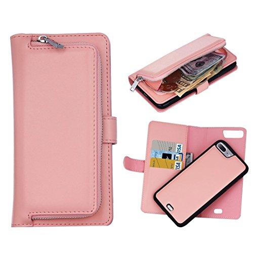 MXNET IPhone 7 Plus Case, Plain Weave Texture Zipper Horizontale Flip Leder Tasche mit abnehmbarem Rücken Schutzhülle & Card Slots & Wallet CASE FÜR IPHONE 7 PLUS ( Color : Pink )