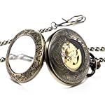 Treeweto Steampunk Skeleton Mechanical Copper Fob Retro Pocket Watch 7