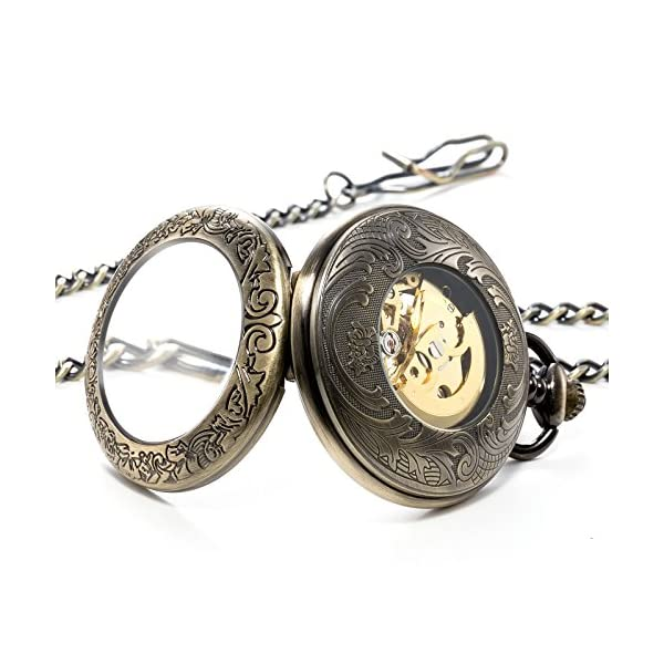 Treeweto Steampunk Skeleton Mechanical Copper Fob Retro Pocket Watch 4