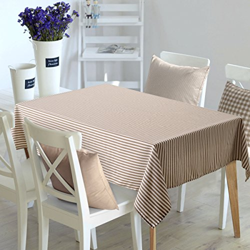 Deconovo Oblong Tablecloth Square Water Resistant Table Cover Striped Table Cloth for Rectangle Tables 54W x 72L Inch White and Brown