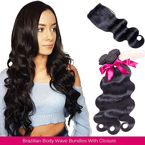 Brazilian Hair Body Wave 3 Bundles With Closure Virgin Human Hair Weave With Lace Closure Free Part Natural Black