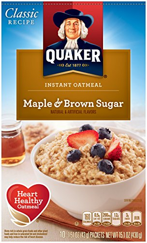 Instant Maple Oatmeal (Quaker Instant Oatmeal Maple Brown Sugar, Breakfast Cereal, 10-Packet Boxes (Pack of 4))