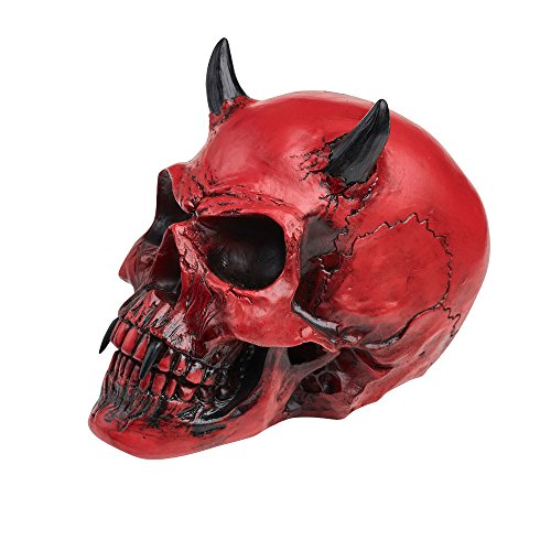 Red Skull Statue (Home Décor Sculpture Statue Gothic Red Demon Skull Horns of a Lost Soul Wicked Grim Reaper)